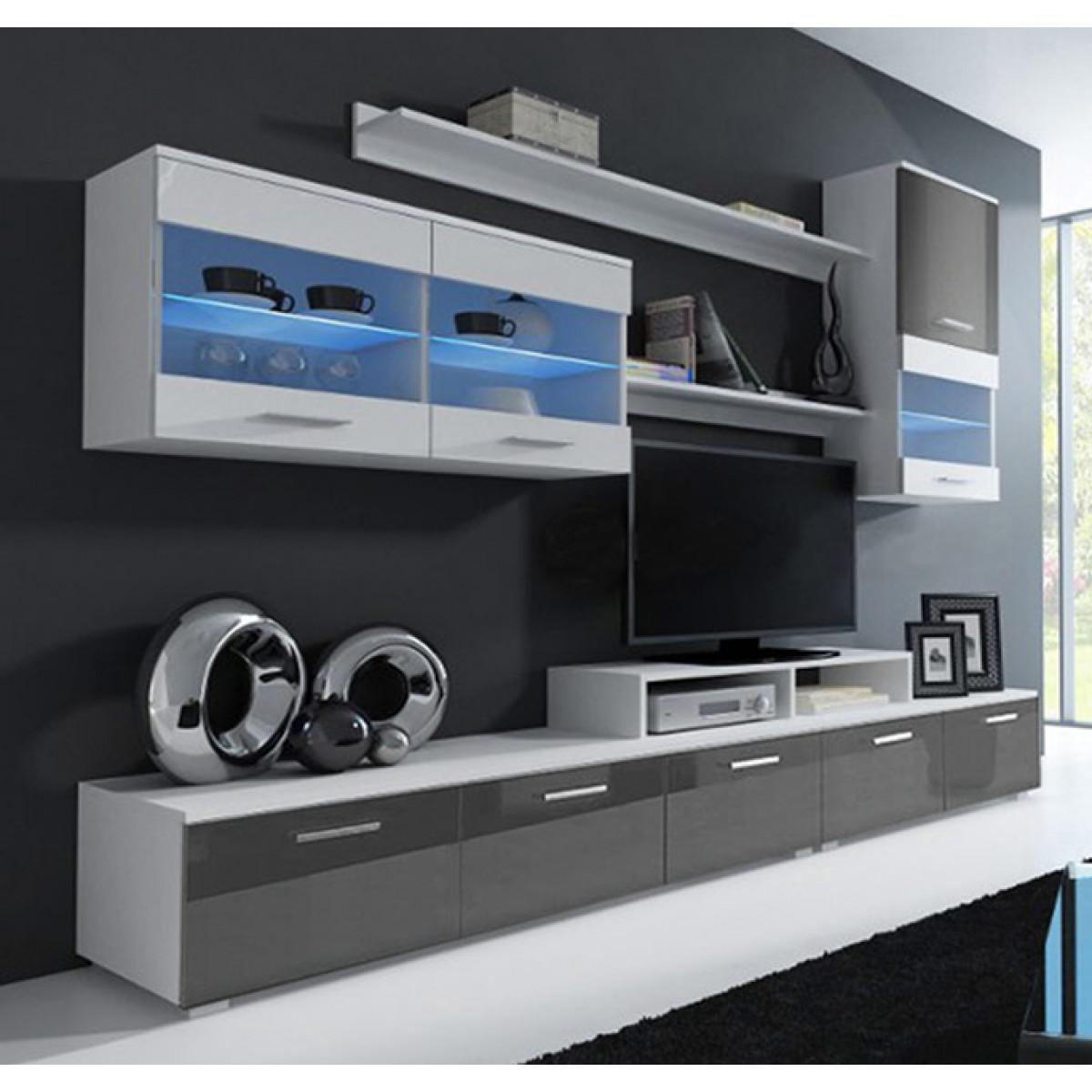 Mobile soggiorno lucia bianco e grigio mod 2 standard for Mobile soggiorno bianco