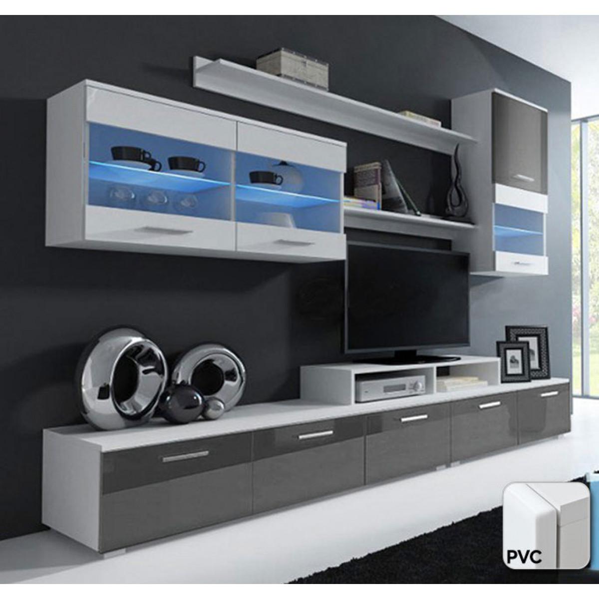Mobile soggiorno lucia bianco e grigio mod 2 con porte - Mobile soggiorno bianco e grigio ...